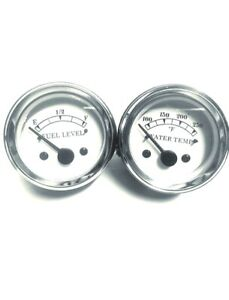Electrical Water Temperature Fuel Gauges Set In White Face 2 52mm Chrome Bez