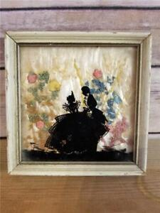 Antique Pressed Flowers Glass Reverse Painted Couple