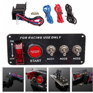Carbon Fiber Race Car Ignition Accessory Engine Start Push Button Switch Panel