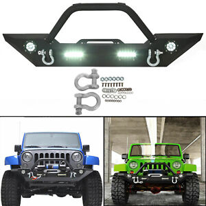 Front Bumper With Built in Led Lights And For Jeep Wrangler 07 18 Jk Unlimited