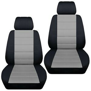 Front Set Car Seat Covers Fits 2010 2020 Kia Soul Black And Silver