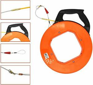 150ft Fiberglass Fish Tape Reel Puller Conduit Ducting Rodder Wire Cable Dia4mm