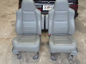 Ford F250 Crew Cab Seats Front And Rear Grey Leather Near Flawless Super Lariat