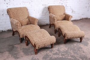 Drexel Heritage Upholstered Lounge Chairs And Ottomans Pair