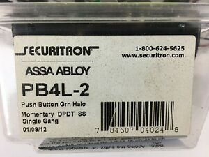 Pb4l 2 Push Button Green Halo Momentary Dpdt Ss Single Gang Securitron Assa Ablo