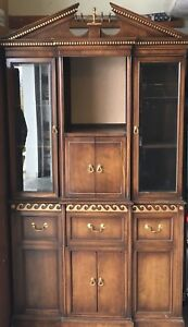 Vintage Walnut China Cabinet Breakfront Display Hutch With Gold Accents 46 W