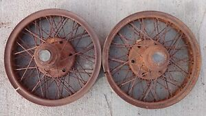 Houk 20 Inch Wire Spoke Wheels W Velie Hub Caps Original Pair