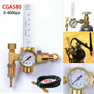 Cga 580 Argon Co2 Mig Tig Flow Meter Regulator Welding Flowmeter 3500psi W Hose