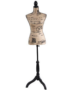 Female Mannequin Torso Dress Form Black Tripod Stand Monogram Style