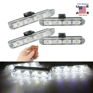 4x Car 16led White Police Strobe Flash Light Dash Emergency Warning Lamps Dc12v