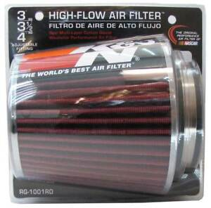K N Universal Air Cone Filter Chrome Round Tapered Red 3in 4in Fits 3 3 5 4