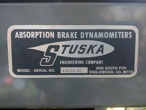 Stuska 42634 sl Engine Dyno Dynamometer 800 Hp Rotor 450 Hp Display