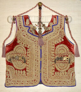 Ottoman Vest Rare Fully Embroidered Turkish Silver Medal Aristocrat Coat Case