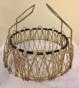 2 Layer Antique Vintage Collapsible Wire Egg Basket French Country Farm