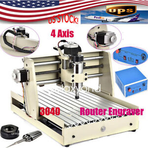 4 Axis Parallel Cnc3040 Router Engraver Engraving Drilling Milling Machine 400w
