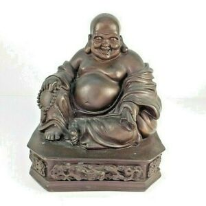 11 Antique Chinese Cast Bronze Seated Laughing Happy Buddha Statue Dragon Base