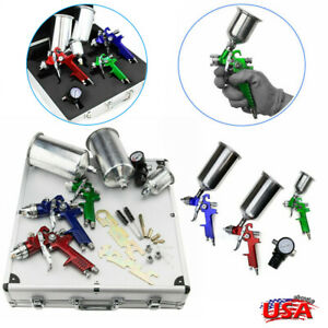 3x Hvlp Air Spray Gun Kit Auto Paint Car Primer Detail Basecoat Clearcoat