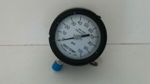 New Old Stock Reotemp 0 100 Psi Pressure Gauge Pt45p1a2p18dt