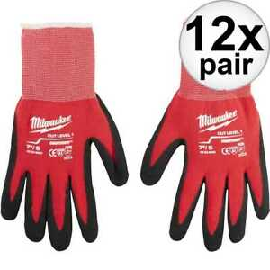 Milwaukee 48 22 8900 12x Cut Level 1 Dipped Work Gloves Small New