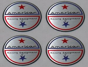 Set Of 4 American Racing Vintage Wheel Rim Center Cap Sticker Logo 1 75 44mm