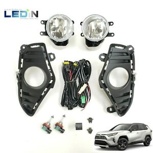 Clear Fog Lights For 2019 2020 Toyota Rav4 Replacement Kit W Bezel Switch Wiring