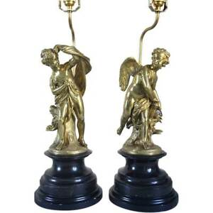 Pair Antique French Louis Xvi Style Gilt Bronze Cupid And Psyche Figural Table L