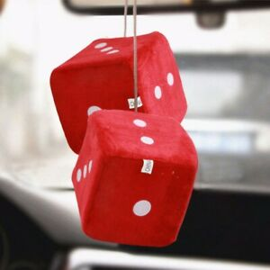 Auto Car Fuzzy Dice Dots Rear View Mirror Hanger Decoration Car Styling Interior