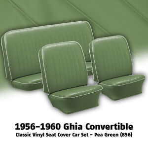 1956 1960 Vw Ghia Convertible Pea Green Front Rear Vinyl Seat Covers 311417