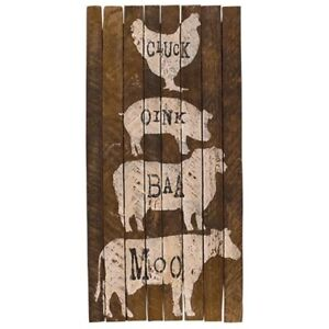 New Primitive Country Rustic Farm Animal Stack Barn Wood Picture Oink Moo Cluck