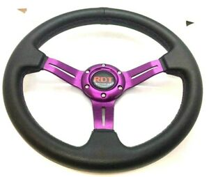 Universal 320mm Racing Steering Wheel Jdm Black Purple Golf Cart