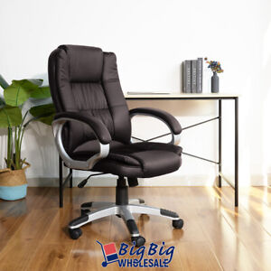 High Back Office Chair Brown Pu Soft Leather Executive Ergonomic Computer Desk