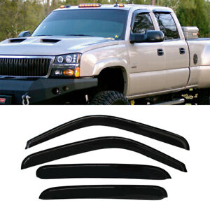 4pcs Sun Rain Guard Vent Window Visor Fit Chevy Gmc Cadillac Crew Cab Pickup Suv