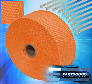 30ft X 2 X 1 5mm Orange Heat Wrap Cover Down Pipe Header Exhaust Intake Piping