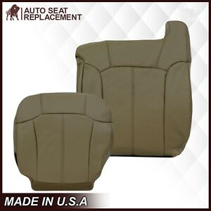 1999 2000 2001 2002 Chevy Silverado Leather Seat Covers Medium Neutral Tan 522