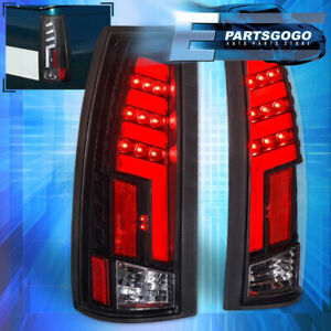 For 1988 1998 Chevy Gmc C10 Clear Lens Black Housing Led Tube Style Tail Lights