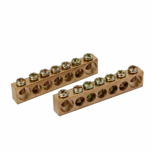 7 Positions 7mm 10mm Dia Wire Screw Terminal Ground Copper Neutral Bar 2pcs
