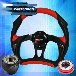 Black Red Battlestyle Steering Wheel Red Slim Quick Release For 96 15 Civic