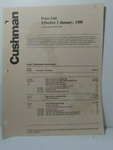 Cushman Electronics Service Monitors And Accessories 1980 Price List 4 Pages