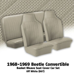 1968 1969 Vw Beetle Convertible Off White Basket Weave Seat Covers 345111
