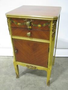 1930 S Nightstand Mahogany With Exotic Veneers Hand Painted Gilded Accents