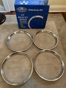 15 Polished Steel Beauty Rings Set Of 4 1947 1948 Ford Style Beauty Rings