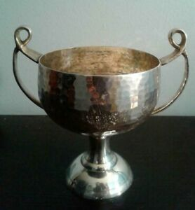 Cup Arts And Crafts Hammered Silver Plate Finish 2 Handled Cup Vessel Vase