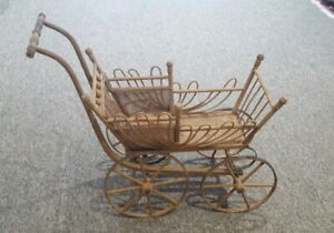 Antique Vintage Wooden Child S Doll Buggy Carriage Stroller 30 L X 12 W X 23 H