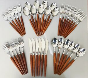 Mid Century Danish Modern 39 Pieces Holland Teak Ss Flatware Silverware