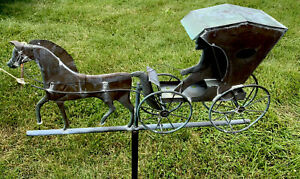 Vintage Copper Horse Buggy Country Doctor Weather Vane Euc