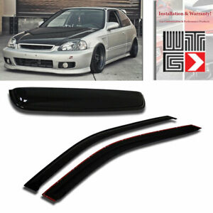 Window Sunroof 3pc Visor Guard Smoke For 1996 2000 Honda Civic Coupe 2 Door