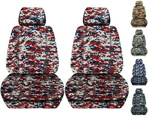Front Set Car Seat Covers Fits Chevy Silverado 2008 2012 Camouflage 8 Colors