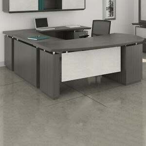 Modern U shaped Executive Desk With Optional Hutch Cabinet New