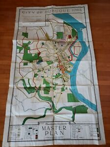 City Of Dubuque Iowa Master Plan Map Poster 26 X 36 Wall Art Hanging 1950s