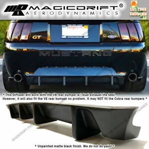 For New Edge 99 04 Ford Mustang Mda 4 Fin Rear Bumper Lower Diffuser Lip Kit